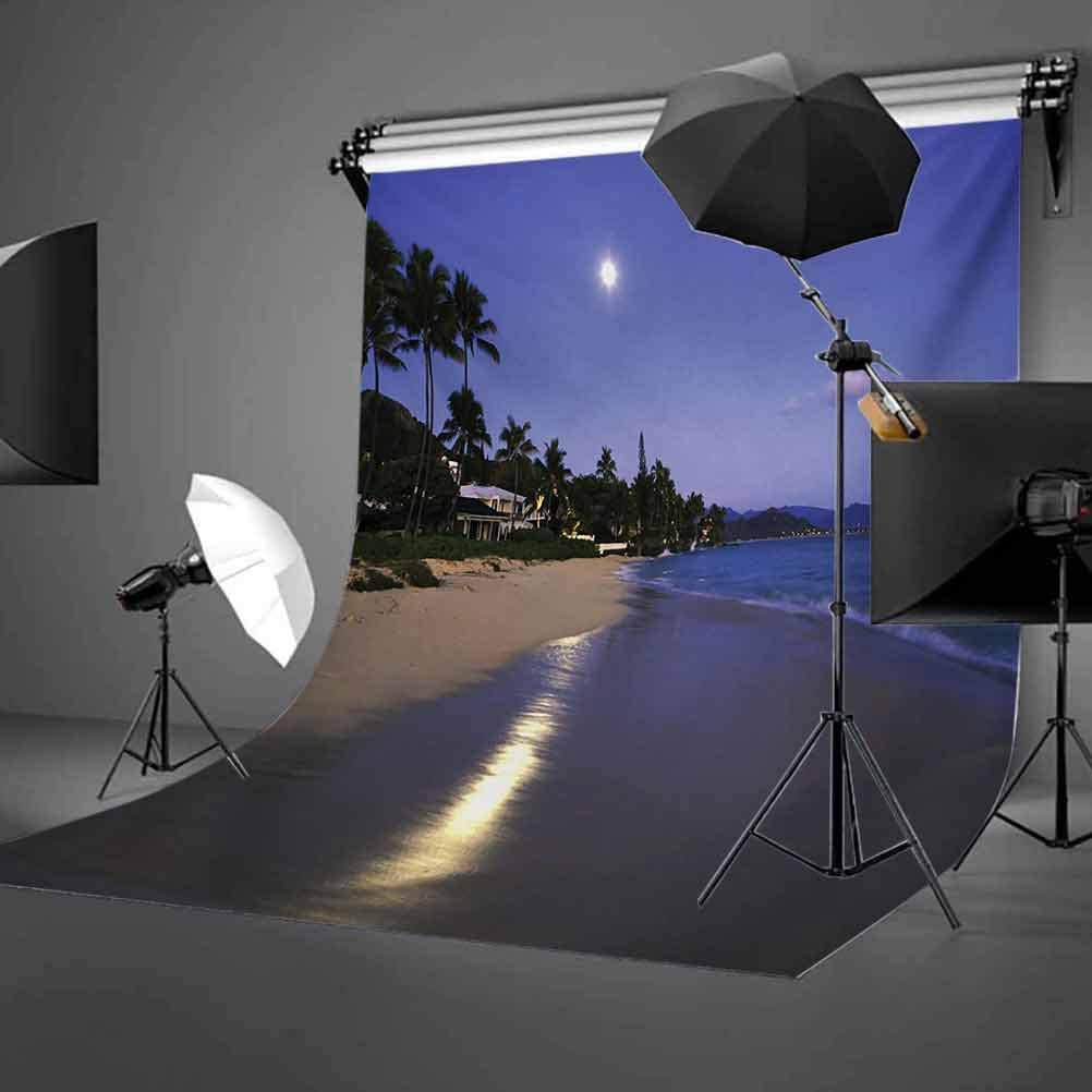 Hawaiian 10x15 FT Backdrop Photographers,Houses Clear Sky Full Moon Reflection at Daybreak on a Hawaii Beach Exotic Life Background for Baby Shower Bridal Wedding Studio Photography Pictures Navy San