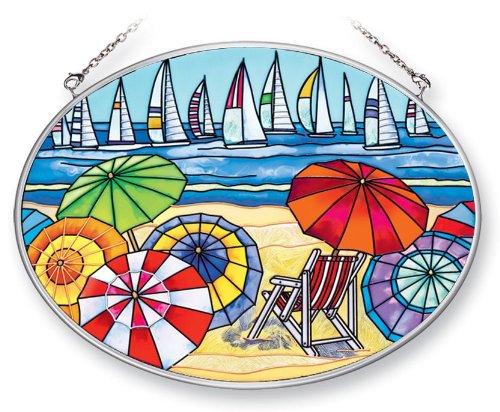Amia 41394 Beach Scene with Sailboats 7 by 5-1/2-Inch Oval Sun Catcher, Medium