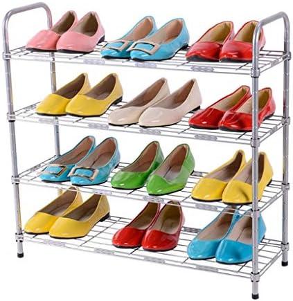 4層収納ラック調節可能な靴ラックシンプルな家庭用多機能フロアシェルフリビングルームベッドルームバスルームキッチン、シルバー ++