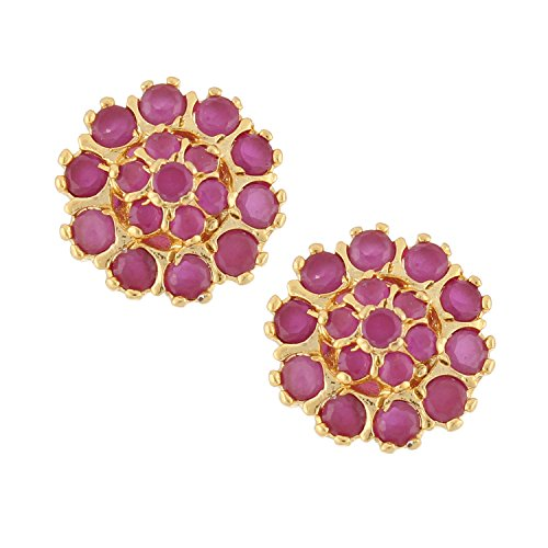 Efulgenz Stud Earrings 14 K Gold Plated Hypoallergenic Floral Cubic Zirconia Step Faux Ruby Daisy Studs Pierced for Women - Daisy Floral Earrings