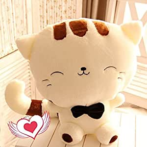 Cute Minor cute smile cat big face cute ribbon with gift celebration gift event celebration fluffy stuffed soft (systemic 130cm sitting height 70cm cream)