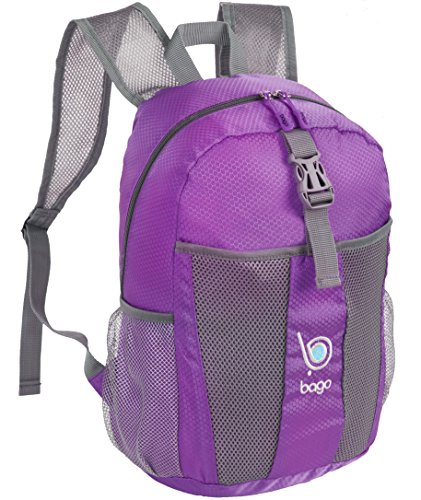 Bago Lightweight Backpack. Water Resistant Collapsible Rucksack for Travel and Sports. Foldable and Packable Daypack for Adults, Men and Women, Teens and Children (PURPLE)