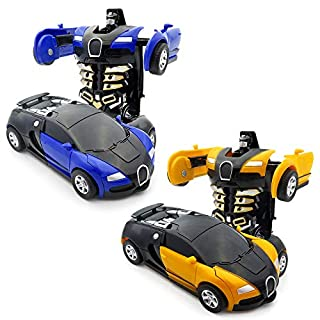 WOCY Kids Transformation Car Toy for Boys, 2 Pack Transform Car Robot with One Button Deformation as Gift for Boys and Girls(Blue + Yellow)