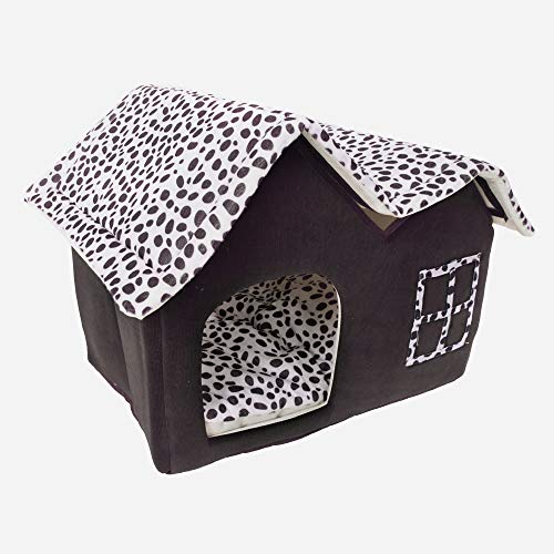 (Yoshioe Luxury High End Double Pet House Dog Cat Little House Bed Pets Coffee)
