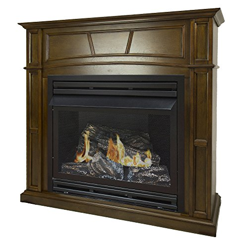 Pleasant Hearth 46 Full Size 32,000 Liquid Propane Vent Free Fireplace System 32K BTU, Rich Heritage
