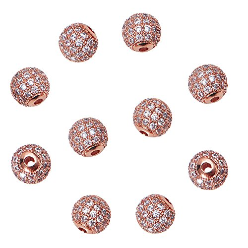 LUXPACK 10pcs 8mm Brass Clear Crystal Cubic Zirconia CZ Stones Pave Micro Setting Disco Ball Spacer Beads, Round Bracelet Connector Charms Beads for Jewelry Making, Rose Gold ()