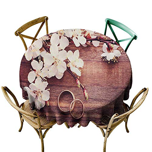 Wendell Joshua Vinyl Tablecloth 39 inch Wedding,Celebration Flowering Branch Delicate Rings on Wooden Surface Rustic Effect,Brown and White 100% Polyester Spillproof Tablecloths for Round Tables