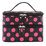 niceEshop(TM) Unique Dots Pattern Double Layer Cosmetic Bag-Black&Hot Pink