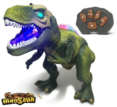 Warp Gadgets - Remote Control LED Green T-Rex Dinosaur 19 inches - Walking Dancing, Roaring, Light up RC Toy