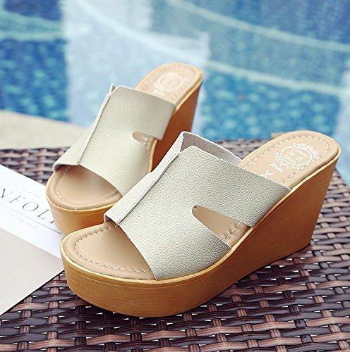 LvYuan Hausschuhe High Strand Boden Plattform Wedge Dick Fashion Komfort Sommer CN35 Ferse Casual Damen Sandalen Wasserdichte Schuhe Heel Beige HrErS