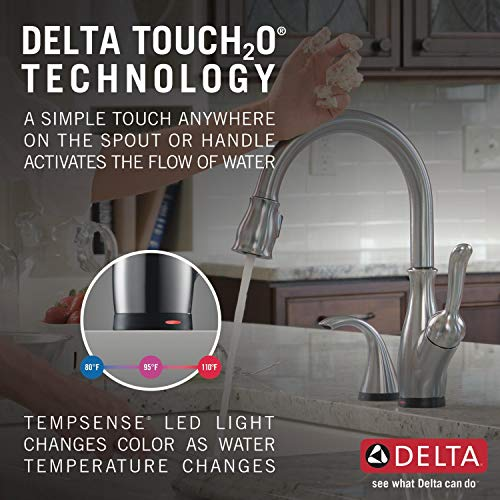 Delta Faucet Leland Single-Handle Touch Kitchen Sink Faucet with Pull Down Sprayer, Touch2O and ShieldSpray Technology…