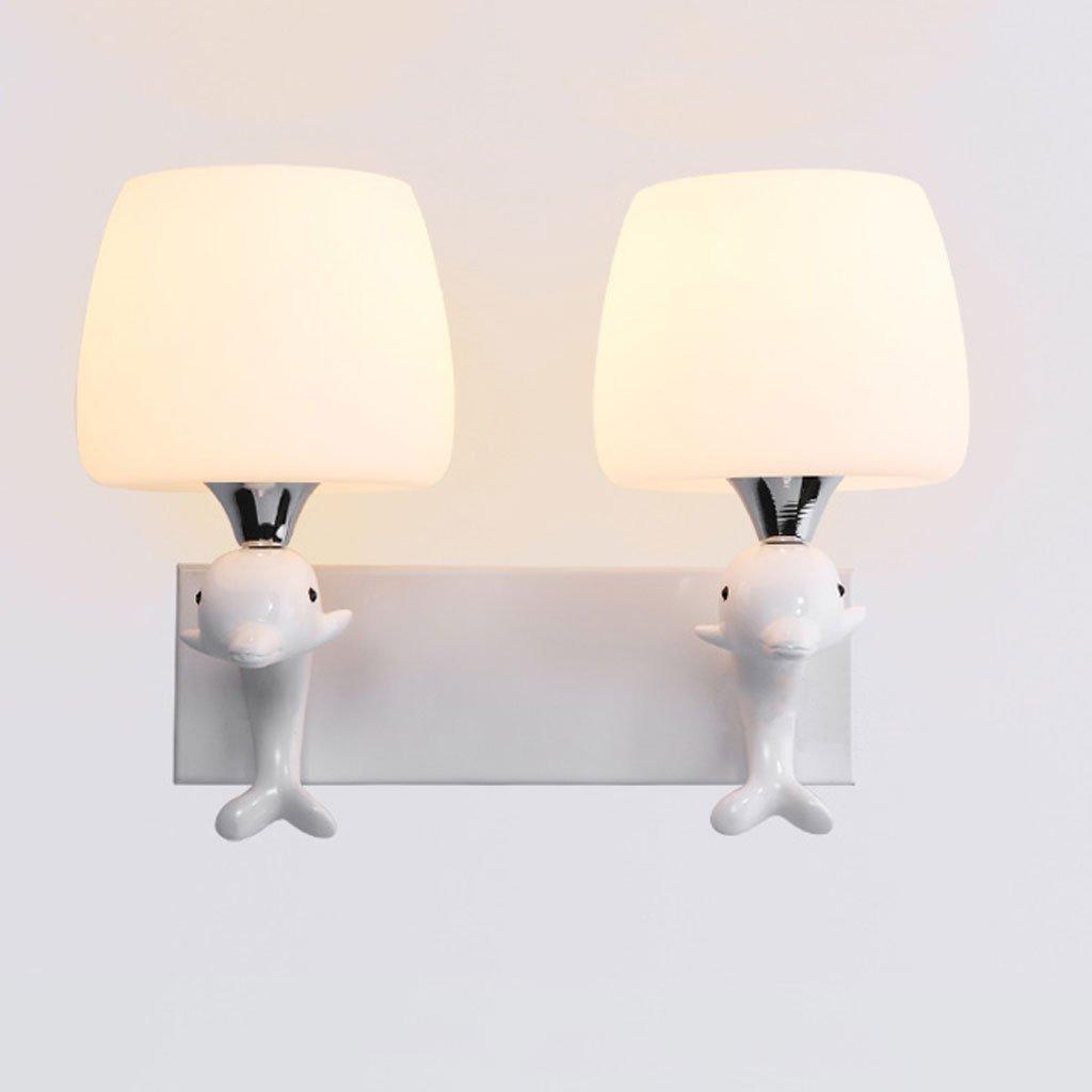 YYF Wandlampe Kreative Pers5onlichkeit Schlafzimmer Nachttisch Lampe Wohnzimmer Modern Minimalist Glas Aisle Dolphin Pilz Kinderzimmer Wandleuchte