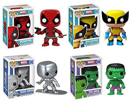 Funko Marvel Select POP! Vinyl Bobble-Head Collectors Set (Deadpool, Silver Surfer, Wolverine, Hulk)