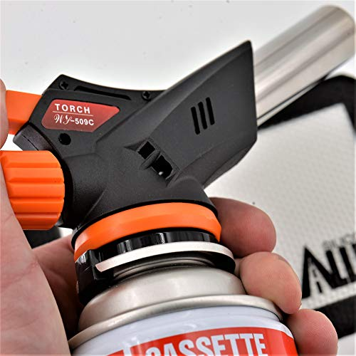 Butane Torch [RAZR//Edition] – [ADJUSTABLE Flame] – for Culinary Use [FAST Refill - Attach-to-Cartridge] / Home Cooks, Pastries, Brazing, Searing + Nonstick Silicone Mat (1)