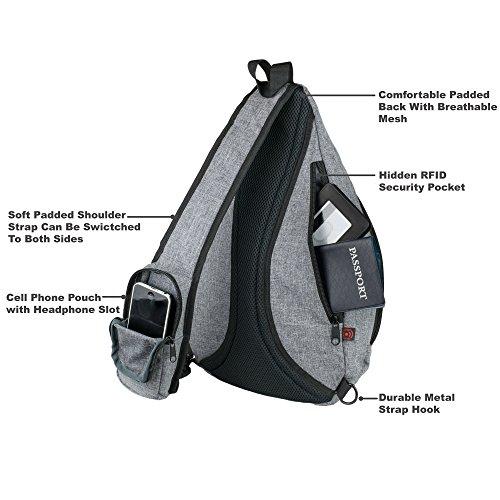 Versatile Canvas Sling Bag / Urban Travel Backpack, Grey   Wear Over Shoulder or Crossbody for Men & Women, by NeatPack