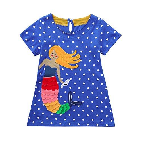 Cartoon Print Dress Toddler Kids Girls Short Sleeve Ballet Girls Outfit Clothes -