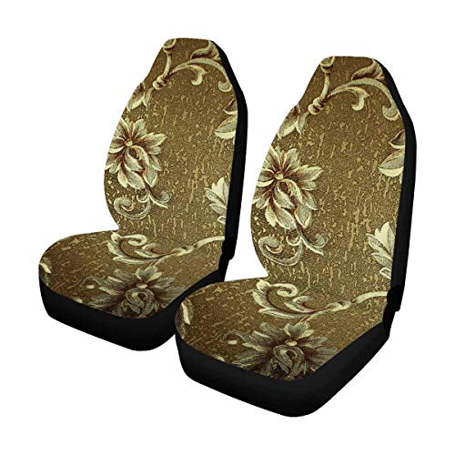 INTERESTPRINT Green Florals Damask Car Seat Covers Soft & Flexible Polyester