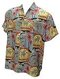 Hawaiian Shirt Men Short Sleeve Aloha Beach HolidayFront Pocket 1688 Grey XL Valentines Day Gifts 2017