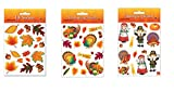 Fall Leaf Stickers, Thanksgiving Stickers, and Pilgrim & Turkey Stickers Set (Pack of 12 Sheets) Sticker Sheets for Thanksgiving, Fall, Autumn, Harvest Celebration Party Favor