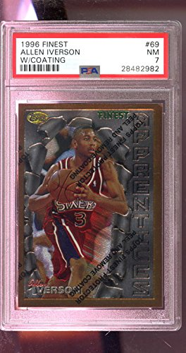 1996-97 Topps Finest #69 Allen Iverson ROOKIE RC NBA NM PSA 7 Graded Card