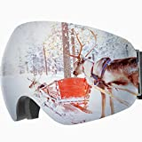 OMORC OTG Ski Snow Goggles, 100% UV400 Protection Frameless Anti-Fog Snowboard Goggles with 180° Wide-View Spherical Dual-Layer Lens, Helmet Compatible Skiing Goggles for Men Women Adults & Youth
