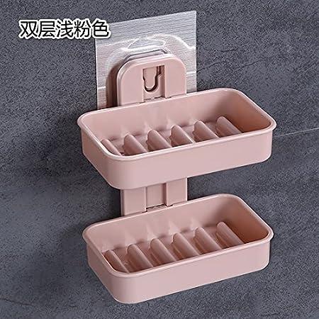 De perforación el doble Jabonera pared jabón plato baño jabón jabón arqueta Doble rosa: Amazon.es: Hogar