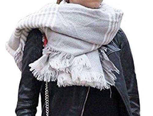 Moxeay Womens Blanket Oversized Tartan Scarf Wrap Shawl Cozy Checked Pashmina (CL667)