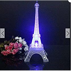 size 20cm Mini Color Changing Eiffel Tower Night Light LED Table Lamp Desk Bedroom Decor by stcops7