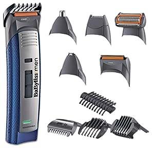 BaByliss – Set de corte E836XE - Kit de corte 10 en 1, multigroom, maquinilla eléctrica para cabello y barba hombre,  perfilador, cabezal para nariz y orejas, color gris