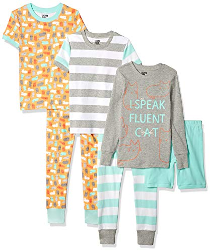 (Spotted Zebra Big Kids' 6-Piece Snug-Fit Cotton Pajama Set, Kitties, Medium (8))