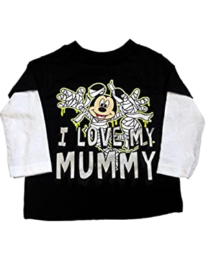 Disney Infant Toddler Boys Black Mickey Mouse Halloween Shirt I Love My Mummy