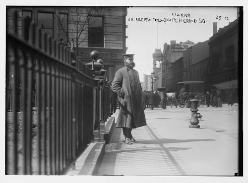 Photo: Recruiter,Herald Square,New York,NY,1908,horse-drawn carriage,fire - Square Ny New Herald York