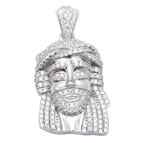 Hip Hop Style Heavy 3CT Micro Pave Cubic Zirconia Jesus Piece .925 Sterling Silver Pendant (Sterling Jesus Piece Silver)