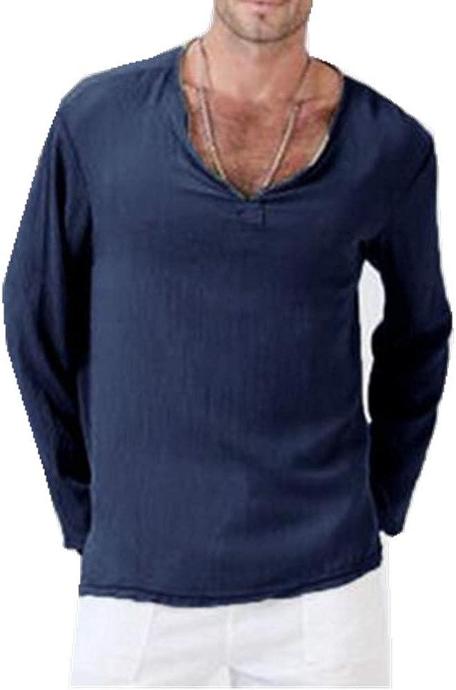 Camiseta De AlgodóN Y Lino para Hombre Color SóLido con ...