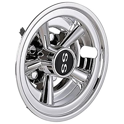 "AW 4pcs 8"" Golf Cart Wheel Cover Hub Cap SS Chrome Finished 5-Spoke Fits for EZGO Club Car Yamaha Easy Snap-in"