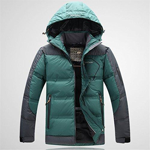 Hhy All'aperto Xxl Collo Riscaldamento Nerastro Cappuccio Breve Verde Uomo inverno Con aaZrxO