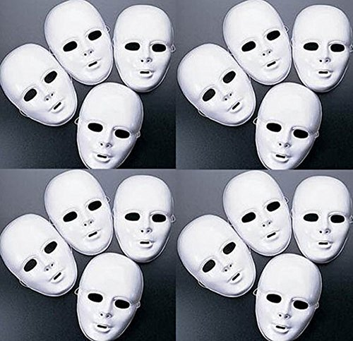 Lot of 48 MASKS White Plastic Full Face Decorating Craft Halloween School -
