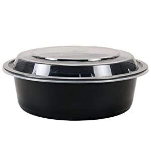 TRiPAK MT0750B Round Black Microwaveable Container with Lid, Kari Out 7