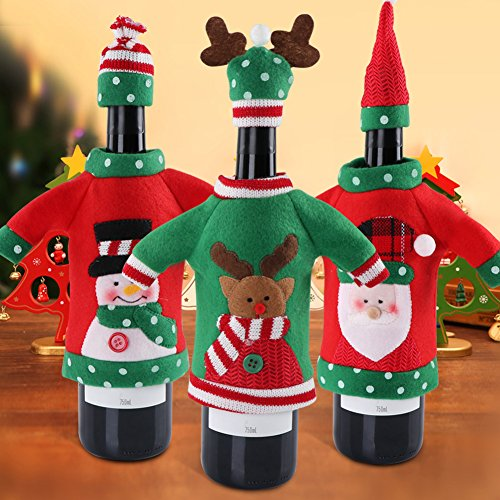 (PartyTalk 3pcs Ugly Sweater Christmas Wine Bottle Covers, Holiday Wine Bottle Sweater Cover with Hat for Ugly Christmas Sweater Party)