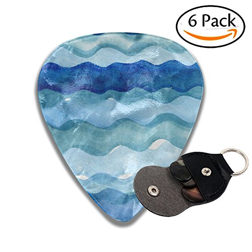 - Wxf Abstract Watercolor Hand Painted Brush Strokes Striped Background Blue Water And Waves Colorful Celluloid Guitar Picks Plectrums For Guitar Bass .46mm 6 Pack