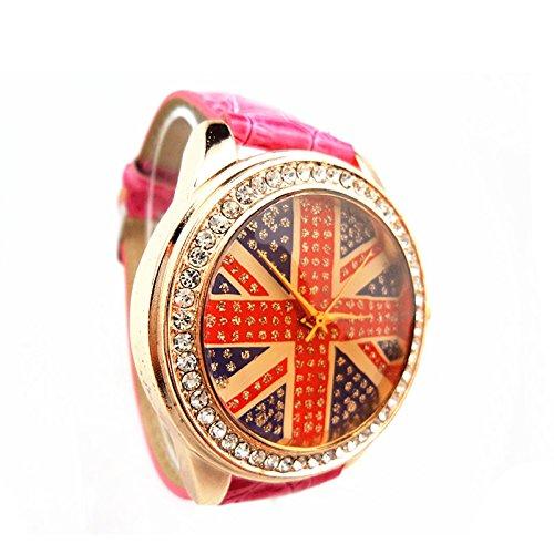 Concha de Oro Trephine forma femenina cinturón rojo relojes de señora-Pink: Amazon.es: Relojes
