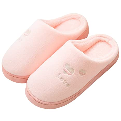 Fuxitoggo Zapatillas Rosas para Mujer Love Heart Home Flat Shoes (Color : Rosado, tamaño
