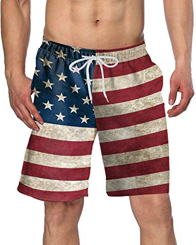Arvilhill American Flag Men's 4th of July Party Summer Beach Patriotic Trunks Loose Casual Swim Shorts Star Stripe M