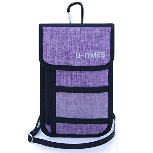 UTIMES Travel Passport Neck Bag RFID Blocking Cell Phone Wallet Pouch With Additional Carabiner-Ultra Slim & Light (Additional Phones)