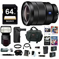 Sony 16-35mm E-Mount Lens, HVLF60M Flash, VGC2EM Battery Grip Bundle Pack