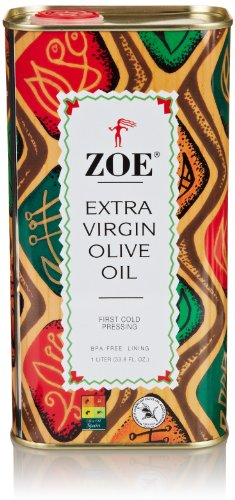 Zoe Extra Virgin Olive Oil 1 Liter Tin, Spanish Extra Virgin Olive Oil, First Cold Pressing of Spanish Cornicabra Olives, Delicate Aromatic Buttery Flavor -