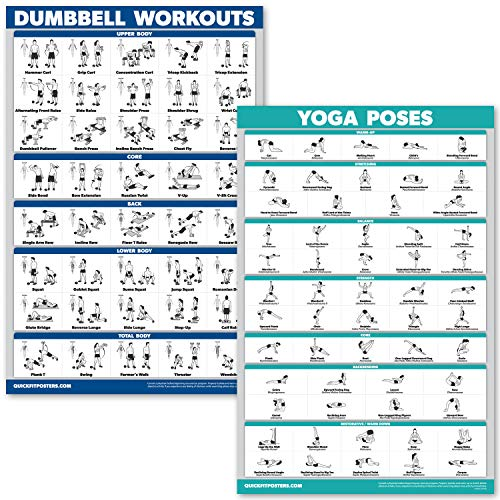 QuickFit Dumbbell Workouts and Yoga Poses Poster Set - Laminated 2 Chart Set - Dumbbell Exercise Routine & Yoga Positions (18