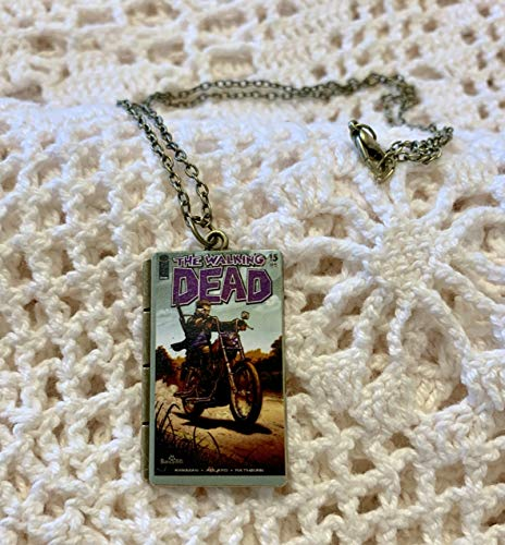 Walking Dead Comic Book Charm - Mini book Necklace - Unique Gift - Party Favors - Daryl Dixon Motorcycle - Zombie Jewelry - Horror Theme]()