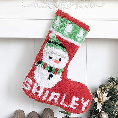 Beyond Your Thoughts Latch Hook Kits DIY Christmas Stockings with Pattern Printed Shaggy Decoration Christmas Ornament Bag for Family-Christmas Snowman
