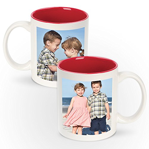 Personalized 11oz White Ceramic Mugs With Colored Interior - Add Photo, Logo, or Image to This Custom Coffee Mug. BPA-free, Microwaveable & Top Shelf Dishwasher Safe.